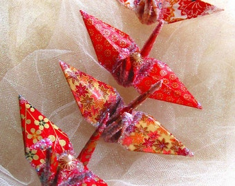 Scarlet Quartet Peace Crane Bird Wedding Cake Topper Party Favor Origami Christmas Ornament Place Card Holder Anniversary Table Decoration