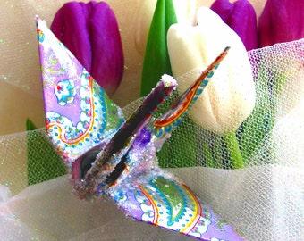 Lavender Paisley Bird Wedding Cake Topper Party Favor Peace Crane Christmas Ornament Origami Japanese Eco Friendly Paper Silver Decoration