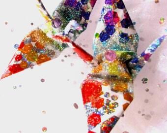Molecular Rainbow Peace Crane Bird, Wedding Cake Topper, Party Favor Origami Christmas Ornament Japanese Paper 1st Anniversary Decoration