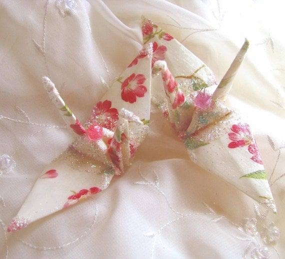 Sakura White Bird, Wedding Cake Topper,  Party Favor Origami Peace Crane Christmas Ornament Japan Paper Place Card Holder Table Decoration
