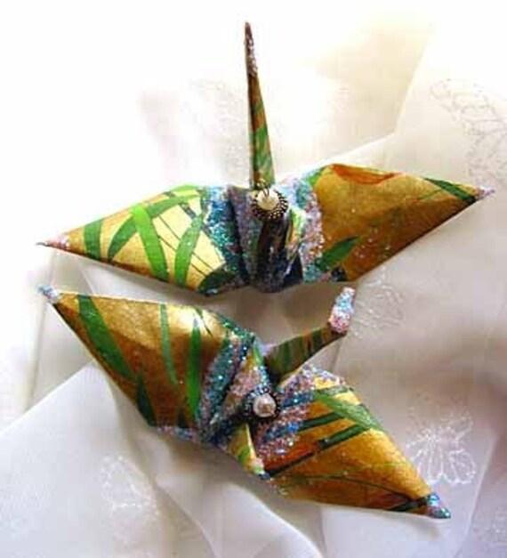 lucky bamboo wedding cake topper peace crane party favor