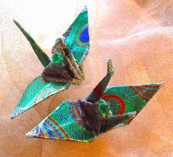 Christmas Ornament Peace Crane Wedding Cake Topper Favor Origami Japanese Paper Bird Decor Green Paisley