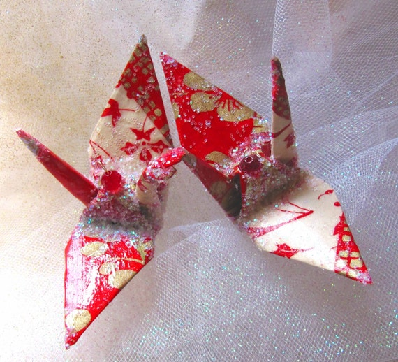 Batik Peace Crane Bird, Wedding Cake Topper, Party Favor Origami Christmas Ornament Japanese Red Lokta Paper Anniversary Place Card Holder