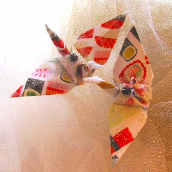 Saturday Night Sushi Peace Crane Bird, Wedding Cake Topper, Party Favor Origami Christmas Ornament Japanese Paper Anniversary Decoration