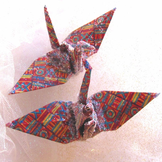 Kente Cloth Peace Crane Bird Wedding Cake Topper Party Favor Origami Ornament Kwanzaa  Eco Friendly Paper Place Card Holder Table Decoration