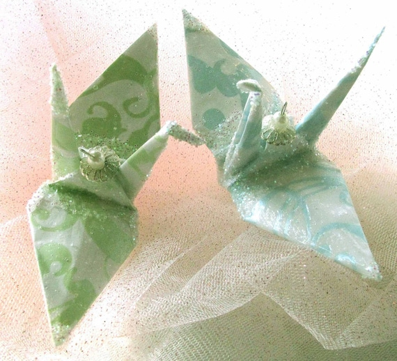 Peace Crane Wedding Cake Topper Party Favor Christmas Ornament Origami Japanese Paper 1st Anniversary Bird Mint Green Pearl Blue Decoration