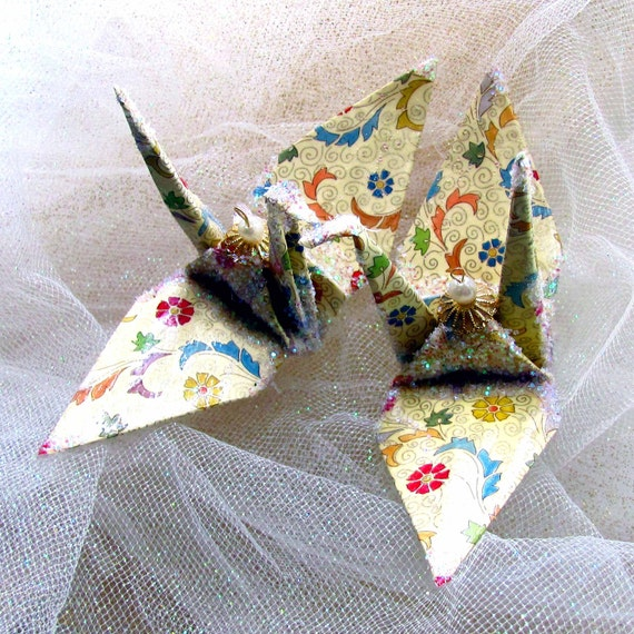 Tuscany Floral Peace Crane Bird Wedding Cake Topper Party Favor Christmas Ornament Origami Place Card Holder Anniversary Table Decoration