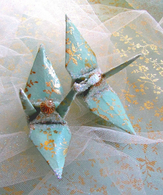 Mint Green Peace Crane Bird, Wedding Cake Topper,  Party Favor Christmas Ornament Origami Japanese Paper Gold Floral Table Decoration