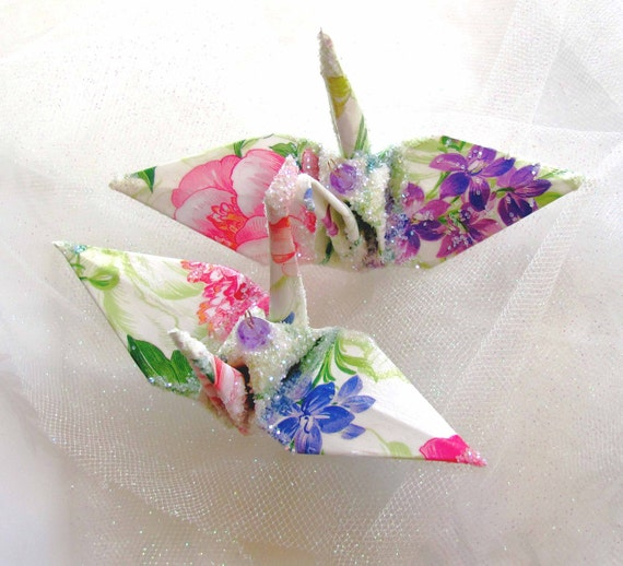 Potpourri Fleur Peace Crane Wedding Cake Topper Party Favor Origami Christmas Ornament Japanese Bird Paper Place Card HolderTable Decoration