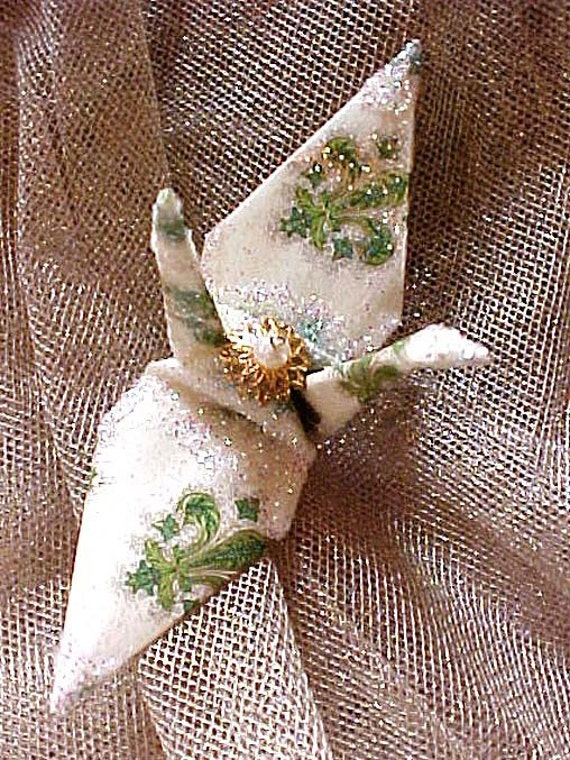 Harry Connick Jr Peace Crane Bird, Wedding Cake Topper, Origami Ornament Party Favor Fleur de Lis Florentia Paper Anniversary Decoration