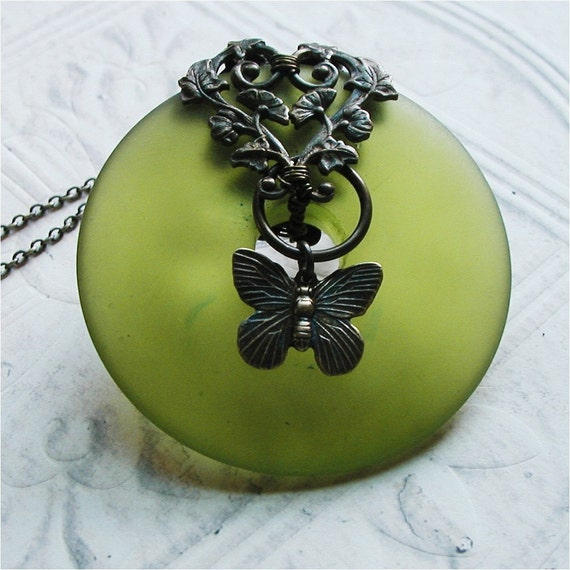 Lime Resin and Brass Necklace