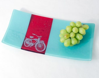 Bike Fused Glass Serving Platter