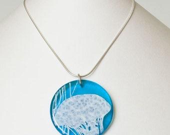 SALE Jellyfish fused glass disc pendant