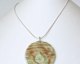 SALE Woodgrain on mint fused glass disc pendant