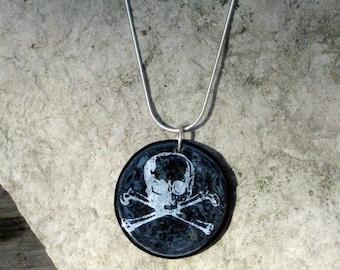 SALE Skull fused glass disc pendant