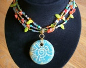 Mixed Glass Garden Necklace with Ceramic Pendant