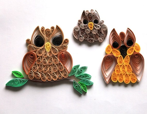 Set Of 3 Quilled Owl Card Or Scrapbook Embellishment