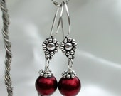 Burgundy Sparkle Glass Bead and Silver Heishe Dangle Earrings on Sterling Silver Earwires