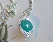 The Princess' Pea Necklace - Aventurine and Sterling Silver
