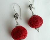 Round Cinnabar Dangle Earrings on Sterling Silver Earwires