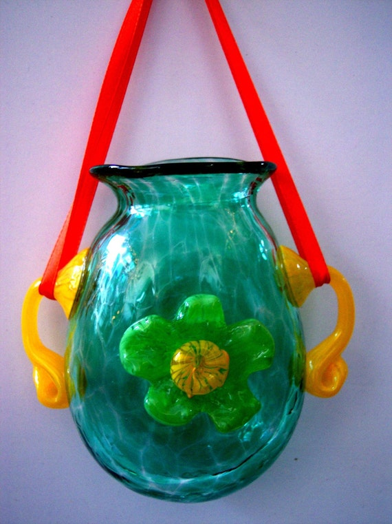 Hand Blown Art Glass Hanging Window/Wall Vase by Rebecca Zhukov
