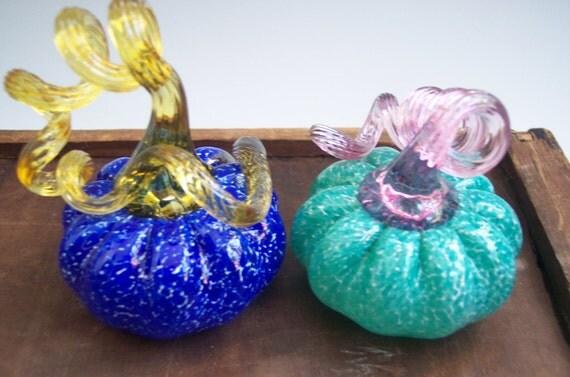 Set of two MINI Hand Blown Glass Pumpkin Paperweight by Rebecca Zhukov