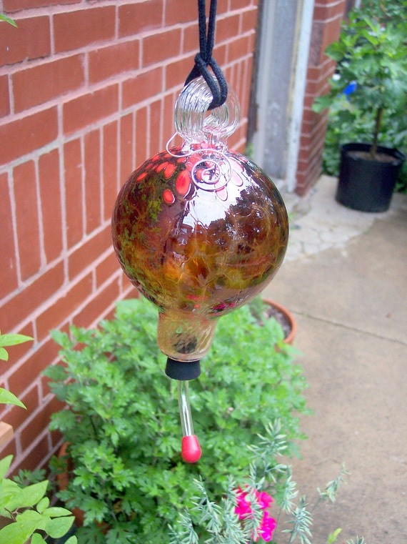 Hand Blown Art Glass Hummingbird Feeder by Rebecca Zhukov