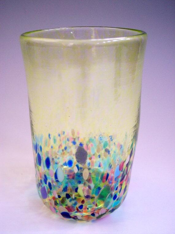 Hand Blown Art Glass Tumbler/Drinking Glass by Rebecca Zhukov