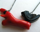 blackbird on a red branch - coral and onyx necklace