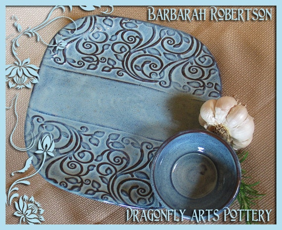 SALE - 2 piece Plate & Dip Bowl Set- appetizers - buffet - hors d'oeuvre Plate - blue - Clearance Holiday Sale