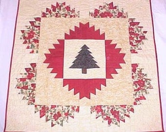 Quilt Wall Hanging Christmas Tree Holly Poinsettias 41x41