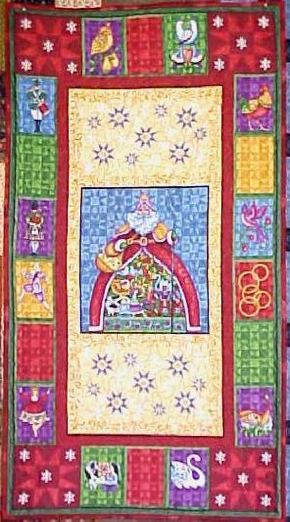 Quilt 12 days of Christmas Wall Hanging Santa 22.5 x 41