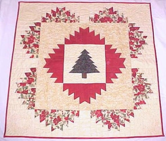 Items similar to quilt wall hanging christmas tree holly