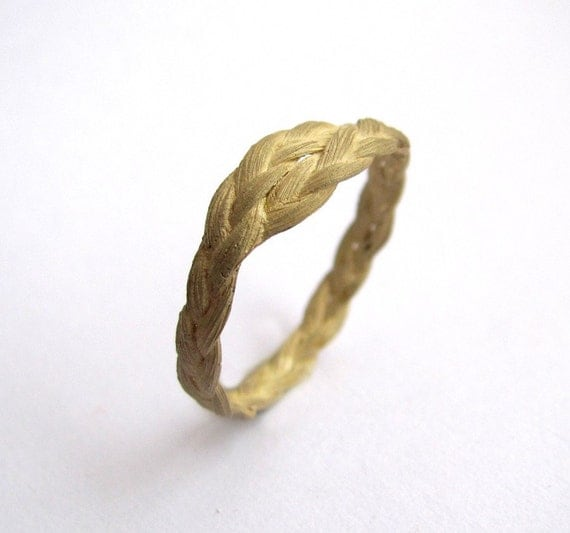 Zopf braided ring simple in 18ct yellow gold