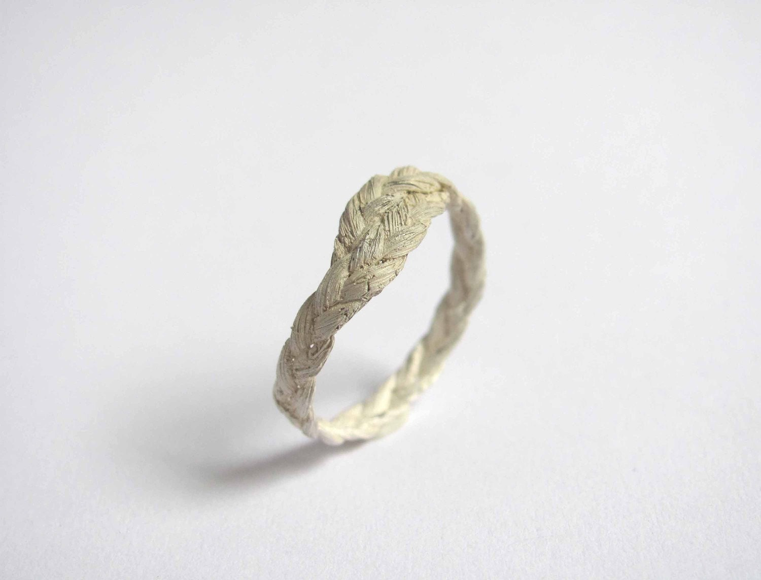zopf braided ring simple in silver