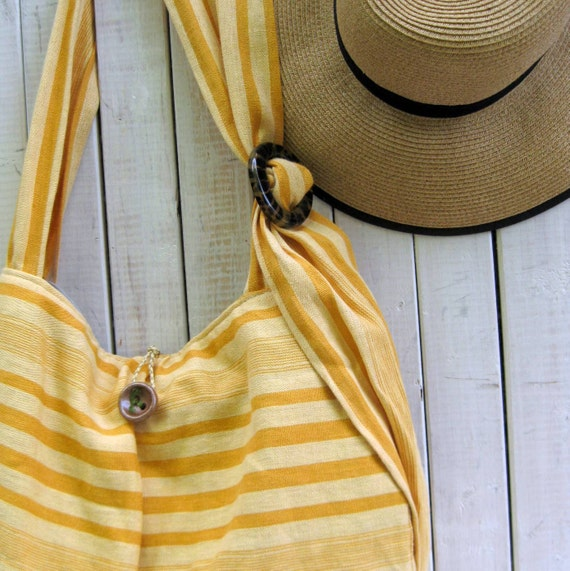 Stripe Beach Tote Bag Yellow Linen Carryall for Summer at the shore