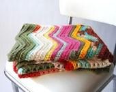 Handmade Vintage Zig Zag Afghan . Throw . Multi Color