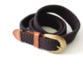 vintage Braided Belt / Unisex / Classic / Cotton Stretch Belt / Leather detail / nautical bohemian chic / osfm