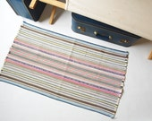 Rag Rug . Colorful . Finely Woven . multi color Stripes . Rustic Farmhouse chic