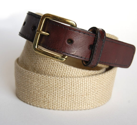classic vintage canvas leather belt solid brass buckle 80s