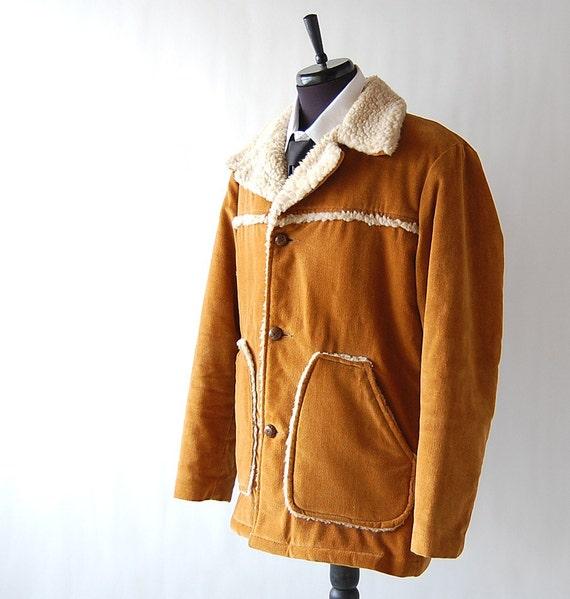 Mens Vintage Mustard Brown Faux Sheepskin Coat Lumberjack