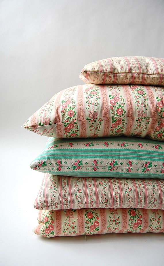 Set of 5 vintage Ticking Feather and Down Pillows . Farm Cottage Chic