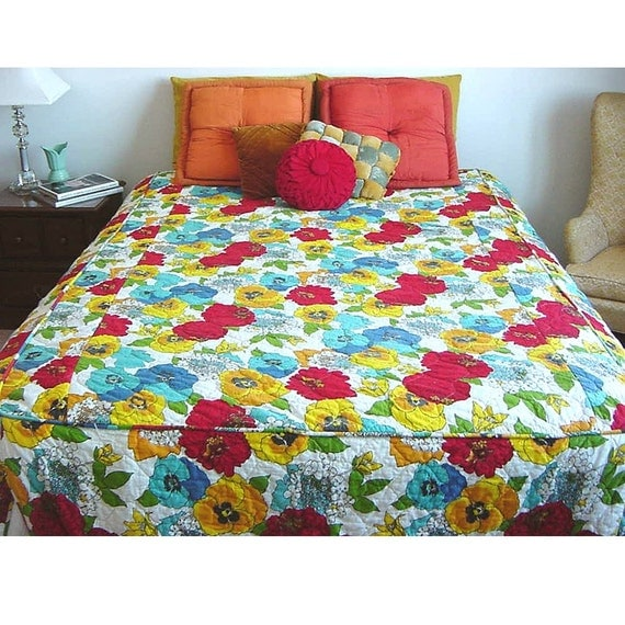 SALE Mod Floral Print Hothouse Bedspread Bold and Graphic Floral Cotton Bedding Cover