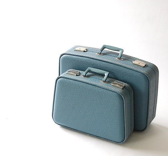 Vintage Blue Luggage . Set of 2 . Hard Suit Case . Nesting