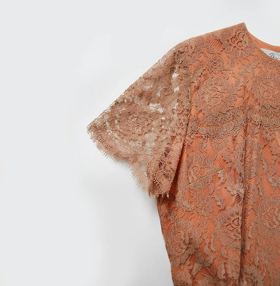 60s vintage lace Illusion Dress . fitted . Scalloped Sleeves and Trim . m l