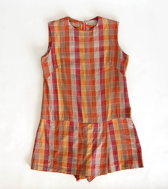 vintage Madras Plaid Scooter . Mini Dress . Cotton Drop Waist Romper . silver metallic detail