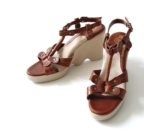 vintage Famolare Leather Sandals . Wedge Platform . Hi Up . Harness detail . Tribal . Strappy . Deadstock . boho sz 8 8.5