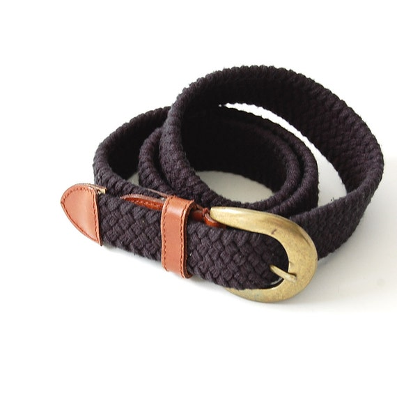 vintage Braided Belt / Unisex / Classic / Cotton Stretch Belt / Leather detail / nautical bohemian chic / osfm