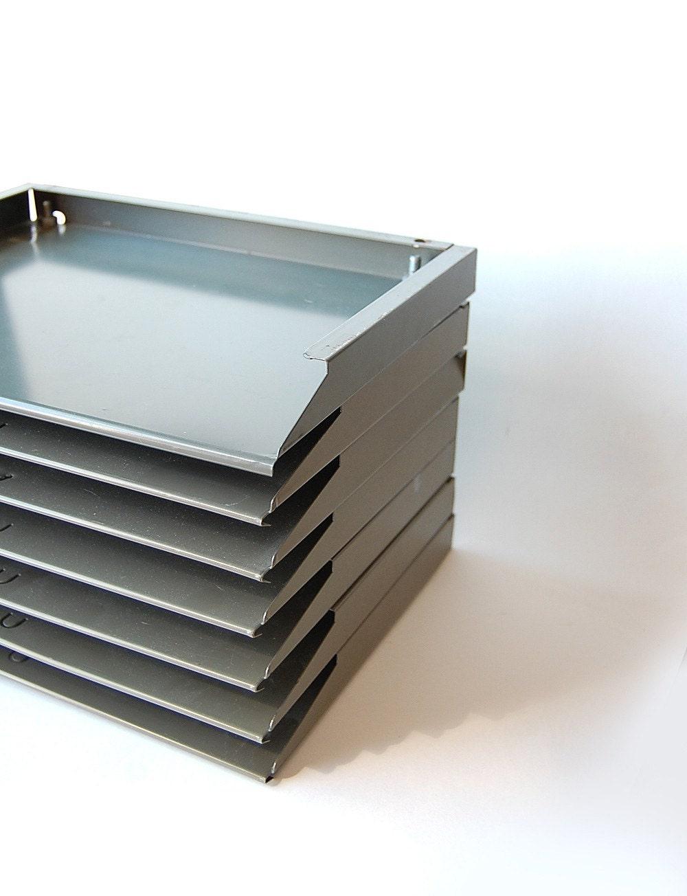 Vintage Industrial Desk File Organizer Metal