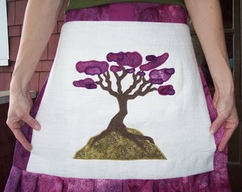 Red Bud Applique Apron/Wrap Skirt